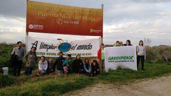 Voluntarios de Greenpeace limpiaron la Reserva del Puerto de Mar del Plata