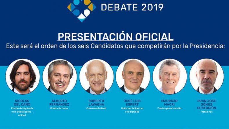 Cuáles serán el orden de los candidatos y temas en los dos debates presidenciales