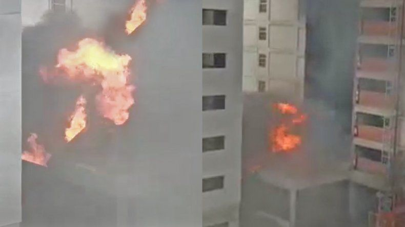 Impactante video del incendio en el hotel donde se hospedaban jóvenes de los Juegos Evita
