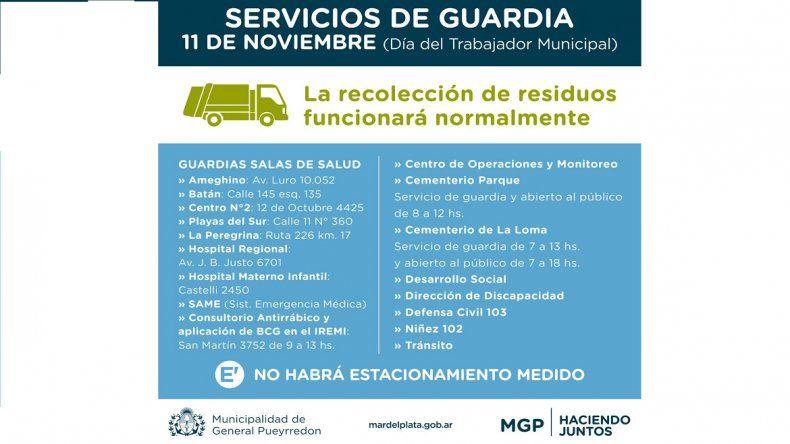 Qué servicios se mantienen y cuáles solo tienen guardias por el Día del Trabajador Municipal