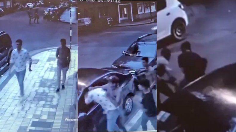 Video: una patota de seis jóvenes le dio una paliza a dos turistas en Brown y Las Heras