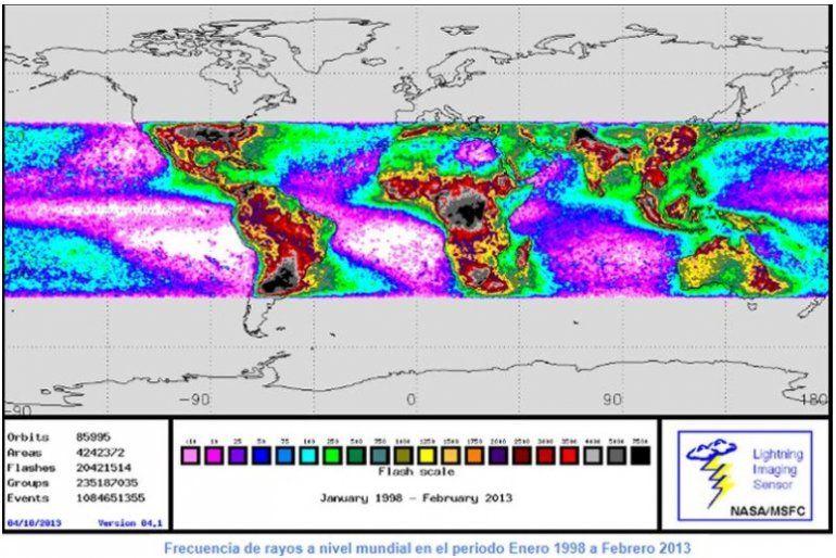 Frecuencia de rayos a nivel mundial en el periodo Enero 1998 a Febrero 2013. Imagen NASA