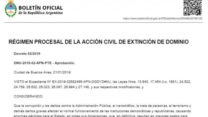 El decreto de extinción de dominio ya es oficial: los puntos clave
