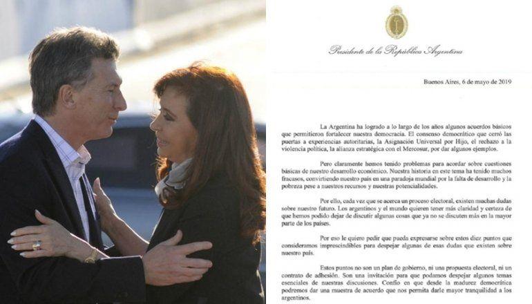 Macri convocó por carta a Cristina y a otros posibles candidatos
