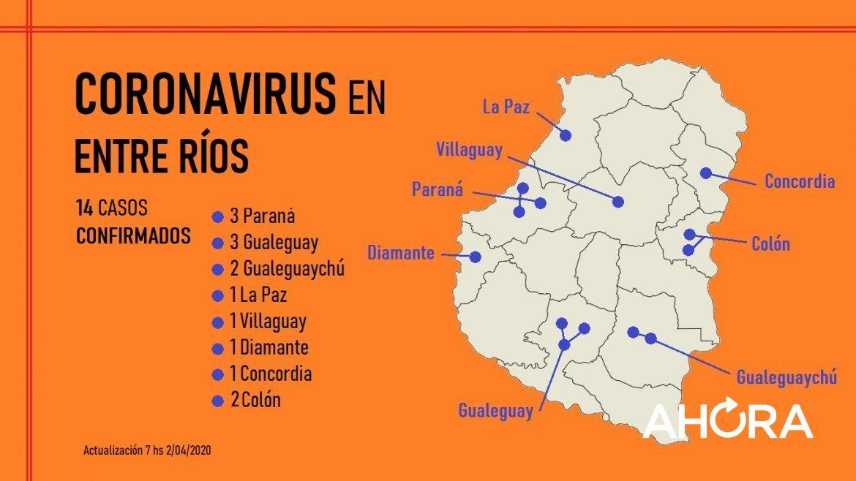 Mapa del coronavirus en Entre Ríos: son 14 los casos confirmados