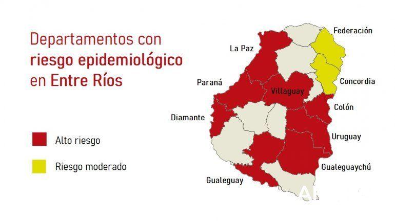 Ocho departamentos entrerrianos fueron clasificados como zonas de alto riesgo